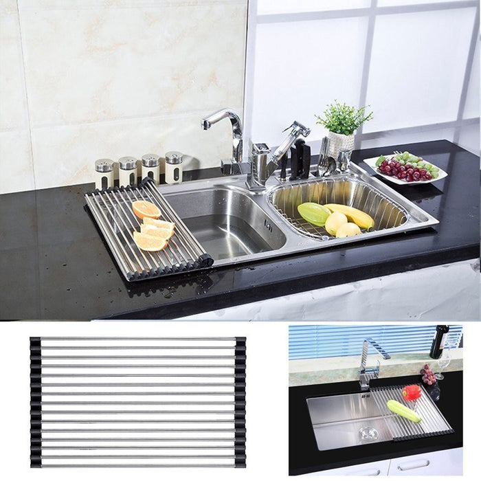 Stainless Steel Foldable Roll-up Over Sink Dish Drying Rack