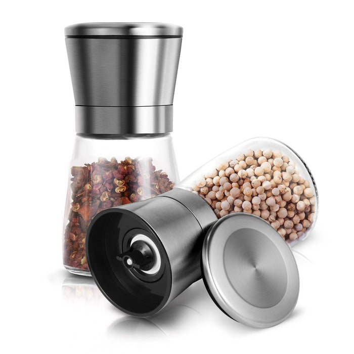 Salt and Pepper Grinder Set of 2, Brushed Stainless Steel Pepper and Salt Mill with Adjustable Ceramic Rotor - Salt and Pepper Shakers