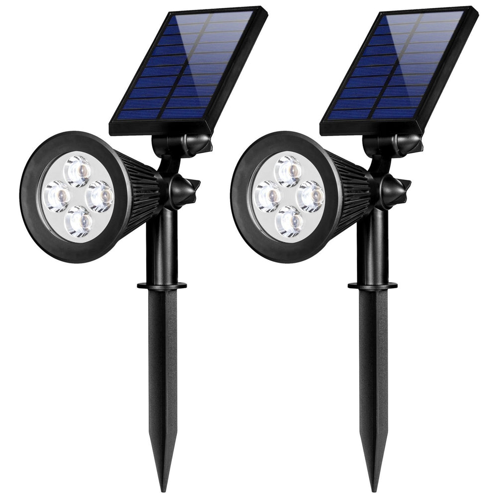 Solar Lights, 2-in-1 Waterproof 4 LED Solar Spotlight Adjustable Wall Light Landscape Light Security Lighting Dark Sensing Auto On/Off for Yard Garden Driveway Pool Area(2 Pack)