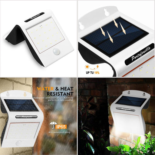 Super Bright 22 LED Motion Sensor Light Outdoor Solar Lights Wide Angle Waterproof Wall Lighting for Driveway Garden Yard Patio 500 Lumens 2 Pack