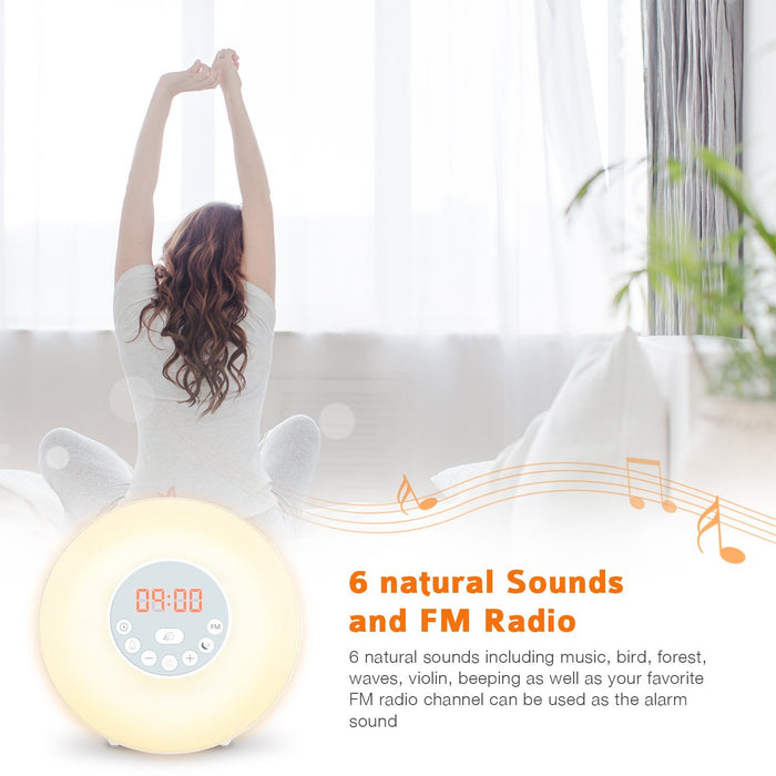 Sunrise Alarm Clock Wake Up Light and Sunlight Simulation with 6 Nature Sounds Snooze Function, FM Radio, 10 Brightness Levels, 7 Colors LED Night Light for Bedside and Kids