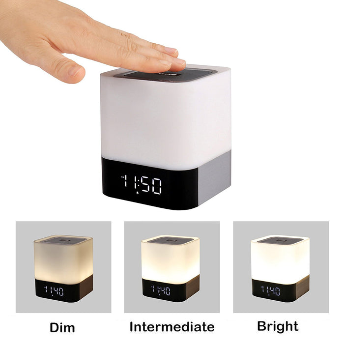 Portable Wireless Bluetooth 4.0 Speaker and LED Light Lamp Alarm Clock with Quality Sound, Touch Light Sensor, MP3 Player, Micro TF SD Card, AUX, USB, 4000mAh Battery