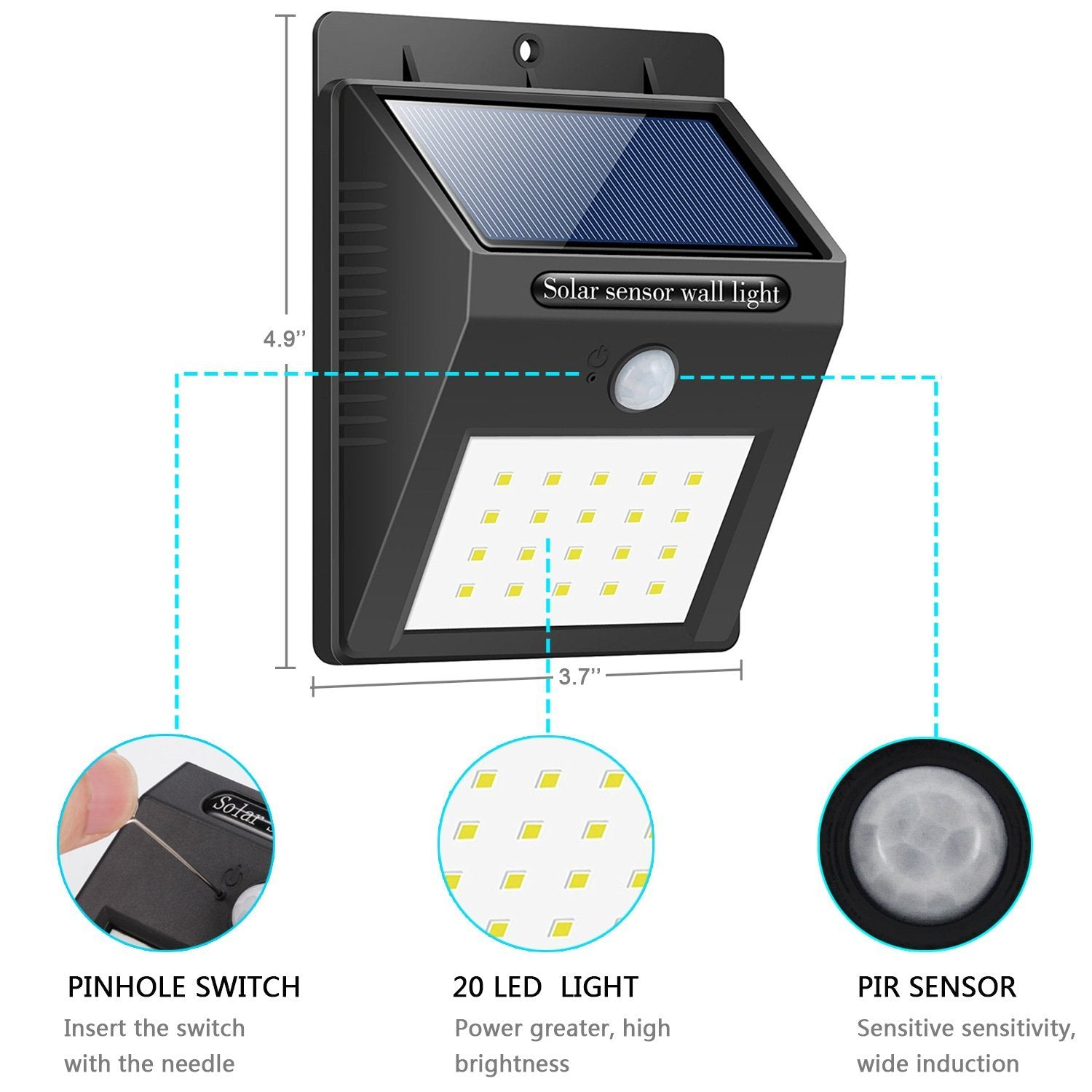 half off 761bb a1c51 Solar Light 20 LED Bright Outdoor Security Lights with Motion Sensor  Wireless Waterproof Night Lighting Solar Powered Spotlight for Wall, Path,  Patio, ...