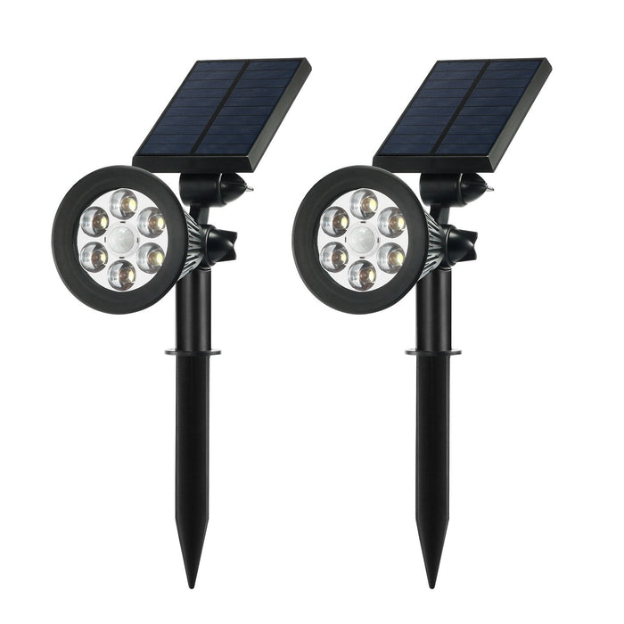 Solar Spotlights Outdoor,Upgraded Motion Sensor Solar Powered Security 6 LED Landscape Light, Auto On/Off Waterproof Wall Tree Light for Patio Porch Path Deck Garden Garage Driveway (2-pack)