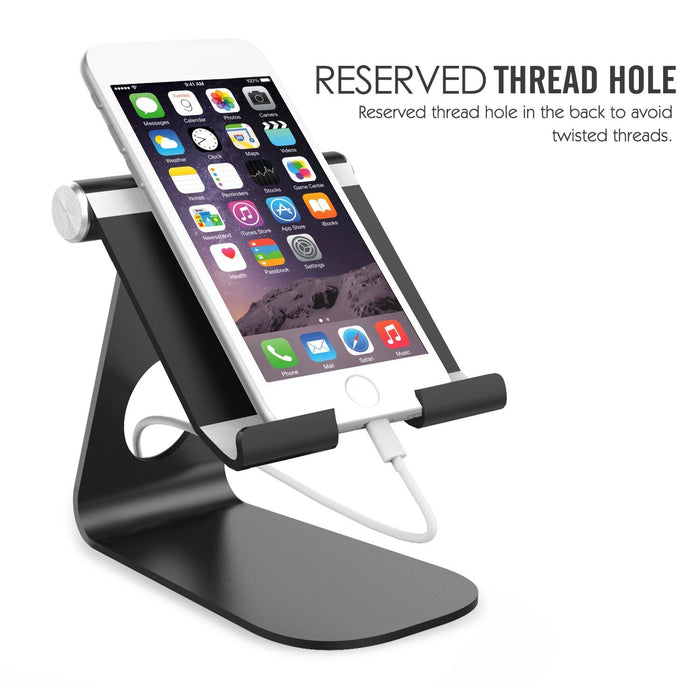Tablet Stand, Universal 210 Degree Multi-Angle Rotatable Aluminum Alloy Smartphone Tablet Desktop Cradle Holder for iPad Pro 9.7/iPad Air 2, iPhone 6s /7 Plus, Samsung Galaxy S8/S8 Plus