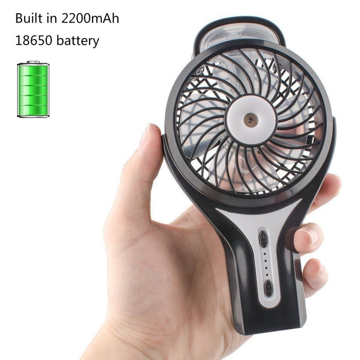 Misting Fan, 2 in 1 Mini Handheld USB Misting Fan with Personal Cooling, Mist Humidifier Portable for Home Office and Travel, Built in 2200mAh Rechargeable Battery.