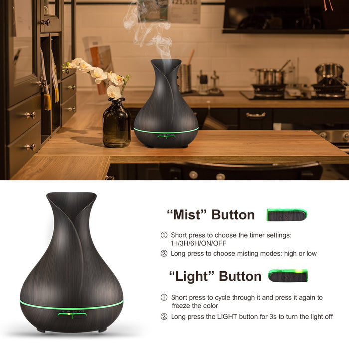 400ml Aromatherapy Essential Oil Diffuser, Ultrasonic Cool Mist Humidifier with Wood Grain Design for Office, Room, Spa (Dark Brown)
