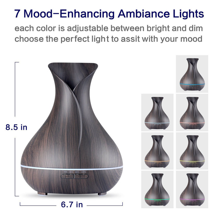Aroma Essential Oil Diffuser,400ml Ultrasonic Cool Mist Humidifier with Color LED Lights Changing for Home, Yoga, Office, Spa, Bedroom, Baby Room - Wood Grain