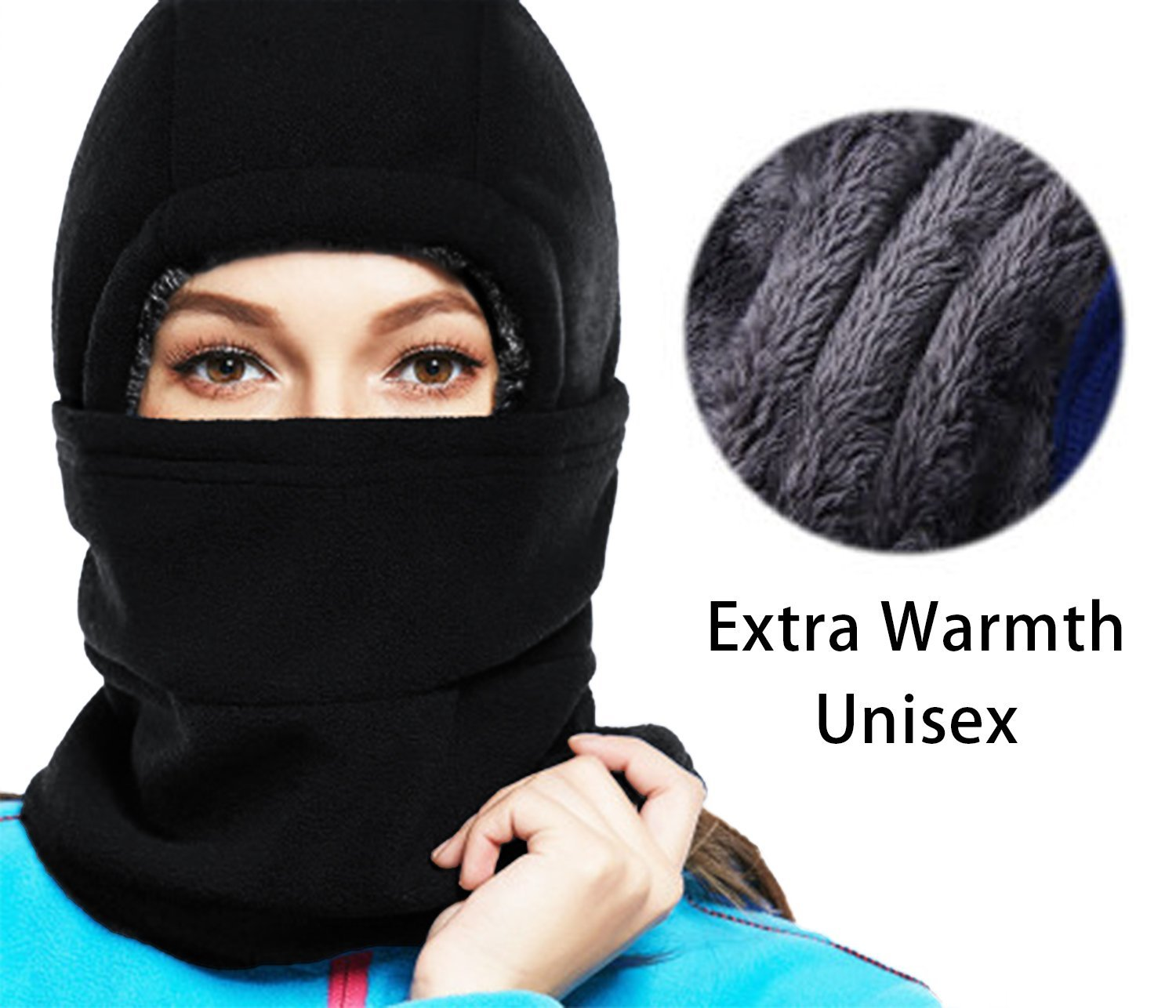 40493b98e3e Balaclava Ski Mask - Cold Weather Face Mask Motorcycle Neck Warmer or  Tactical Balaclava Hood - Plus velvet - Ultimate Thermal Retention in the  Outdoors ...