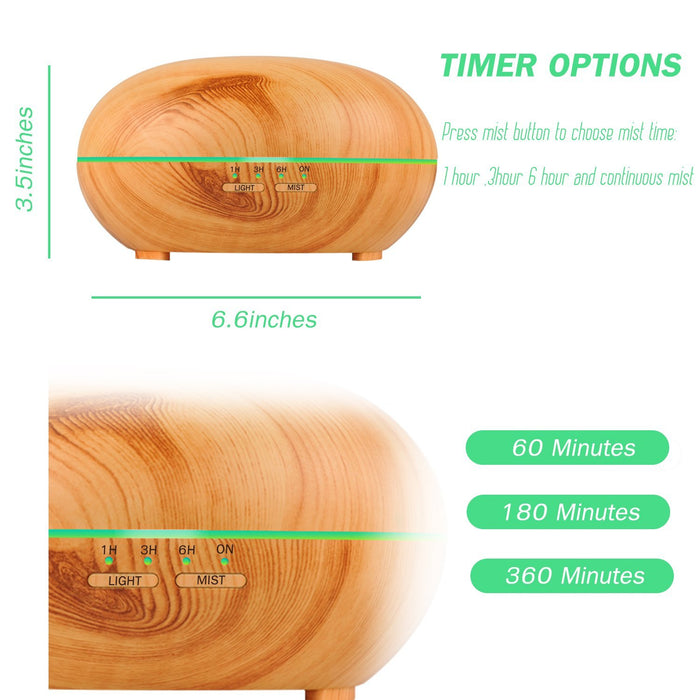 Essential Oil Diffuser, 300ml Wood Grain Air Aromatherapy Ultrasonic Aroma Cool Mist Humidifier with 7 Color LED Lights for Office Home Bedroom Fitness Room Study Yoga Spa (Wood Grain)