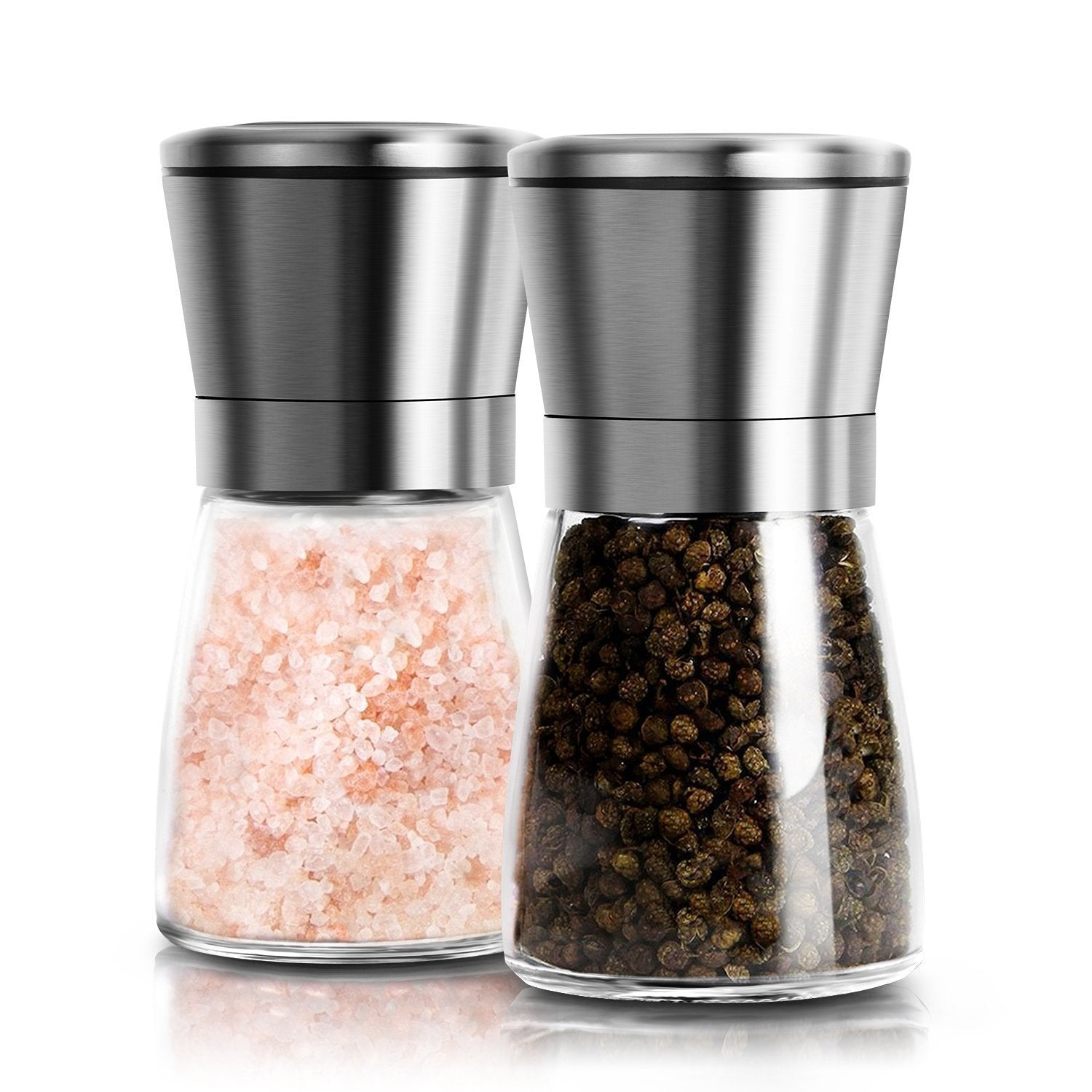 Salt and Pepper Grinder Set of 2 - 18/8 Stainless Steel Top with Glass Body - Adjustable Coarseness - Salt and Pepper Shakers