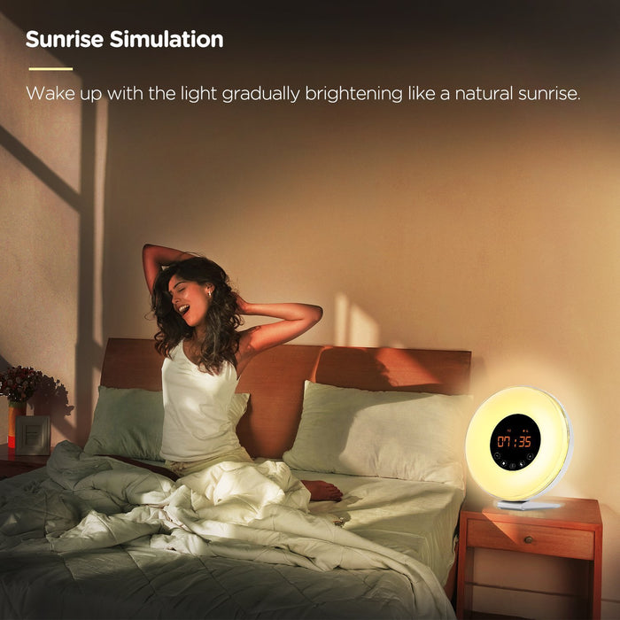 Sunrise Alarm Clock, Wake Up Light with Sunrise Sunset Simulation, 6 Nature Sounds, FM Clock Radio, 10 Brightness Levels, Snooze Function and 7 Colors Night Light