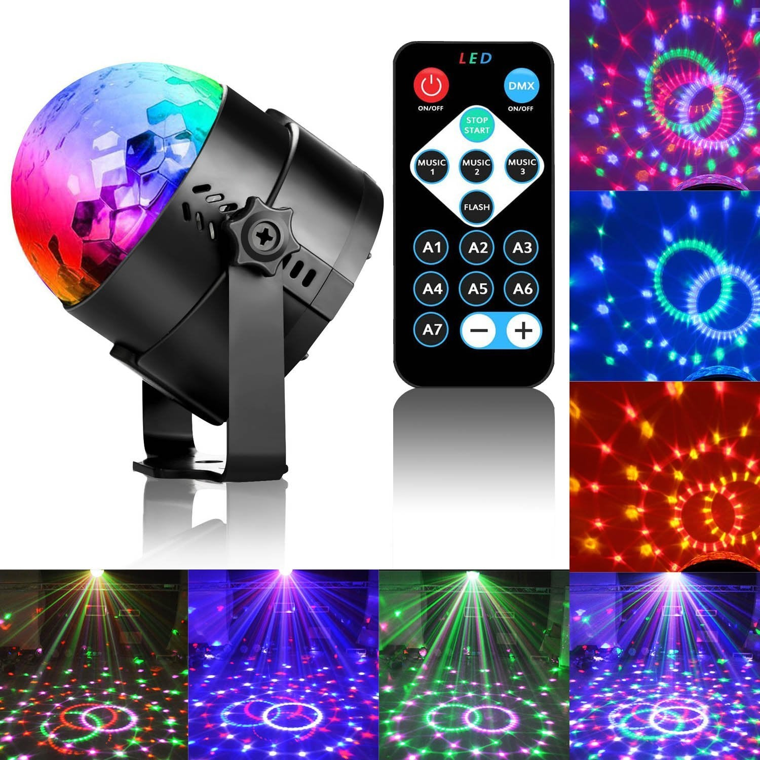 Led Party Sound Strobe Activated Lamp Disco 7 With Lights Ball Modes LightingRbg Stage Remote For Control Dj Par Light FKTcl1J