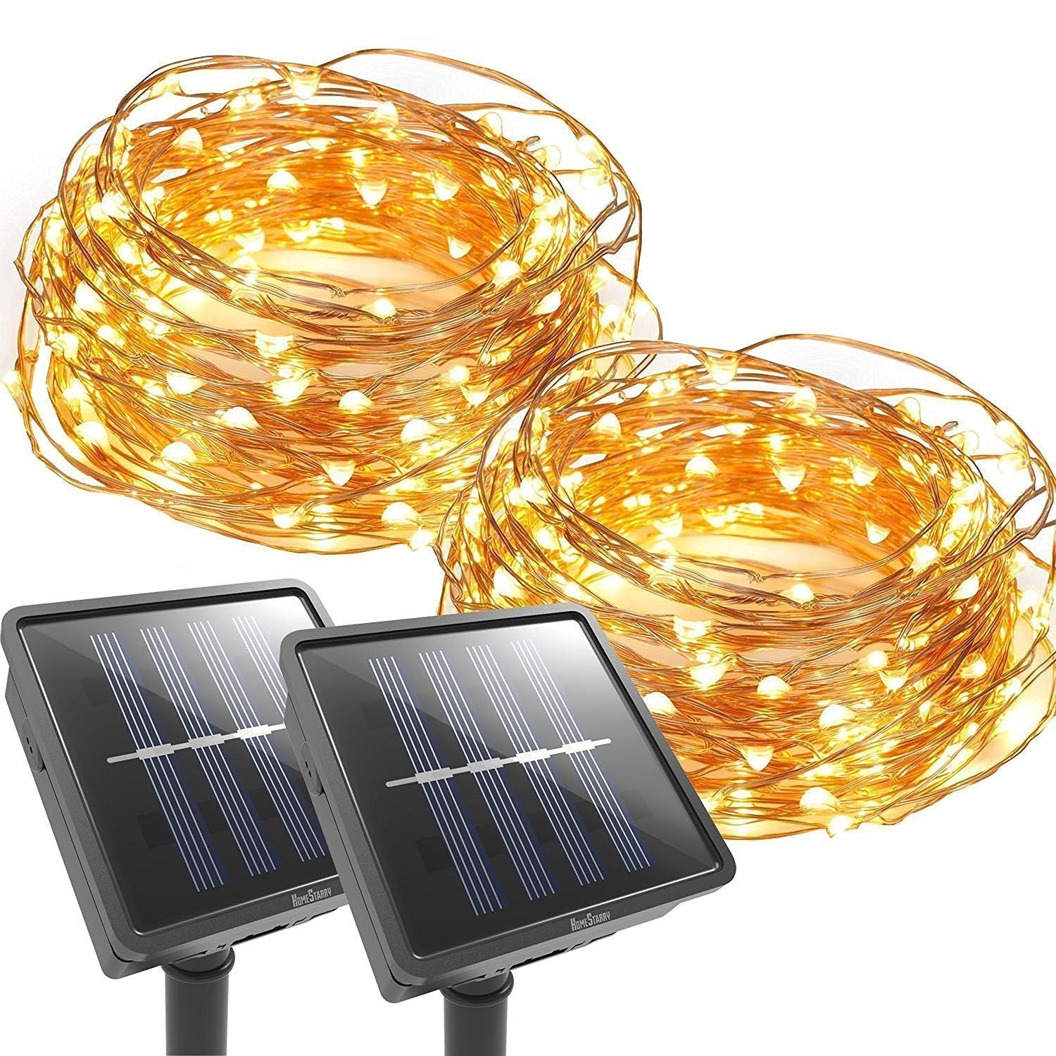 Outdoor String Lights  33 FT 100 LED Solar Christmas lighting Decorative Light - Patio - Deck - Party - Christmas Tree - Provide Christmas Fairy Decorative Lightx 2 Pack