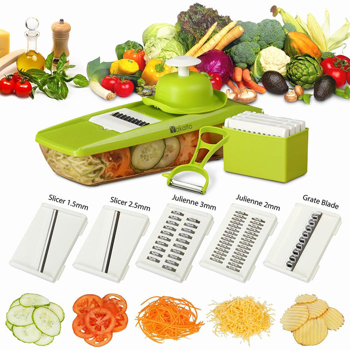 Mandoline Slicer + Peeler & eBook - Potato Slicer - Vegetable Grater - Cutter for Cucumber, Onion, Cheese with 5 Stainless Steel Blades - Julienne Vegetable Slicer - Food Container - Mandolin