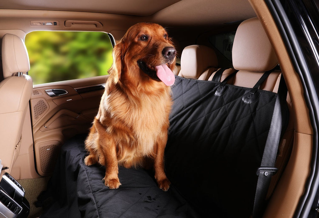 Pet Dog Seat Cover - Waterproof Pets Car Seat Covers Liner – with 2 Adjustable Pet Car Seats Safety Belts Best Dog Hammock Bench Protector for Cars, SUV, Truck Backseat