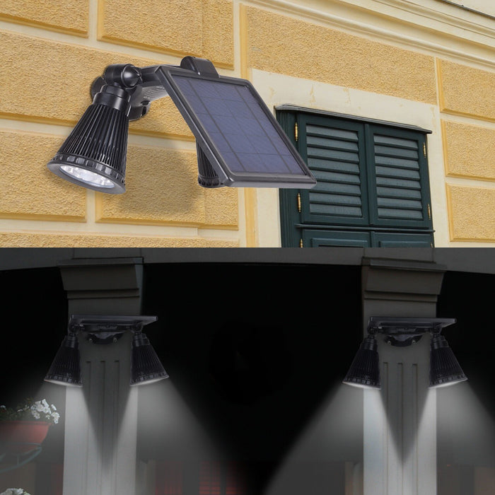Solar Lights Outdoor, Waterproof Double Spotlights Wireless Solar Powered 360-Degree Rotatable Security Light-Sensing Wall Lamps for Patio Porch Deck Yard Garden Garage Driveway Outsides Wall