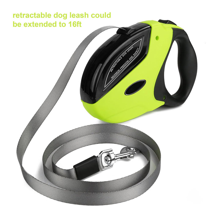 Heavy Duty Retractable Dog Leash with 16 Feet Nylon Ribbon Extends for Small, Medium and Large Dogs up to 110lbs