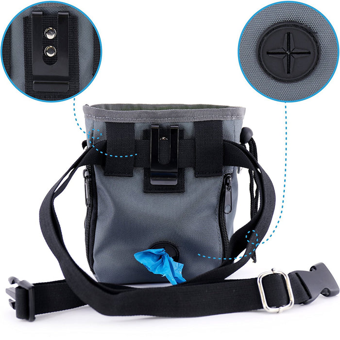 Dog Treat Pouch with Waste Bags Dispenser,  Dog Training Pouch with Extra Long Waist Belt and Over Shoulder Strap, Carries Treats, Toys, Keys etc. ( One Set of Training Clicker)