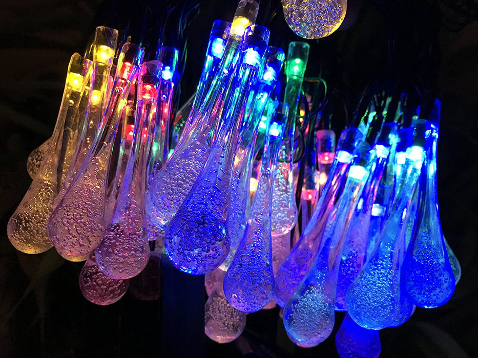 2 Pack Solar Strings Lights, 20 Feet 30 LED Water Drop Solar Fairy Lights, Waterproof Lights for Garden, Patio, Yard, Home, Parties- Multi Color