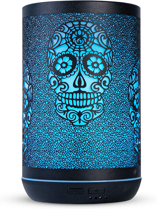 Essential Oil Diffuser, 300ml Ultrasonic Diffuser for Essential Oil, Cool Mist Humidifier Aromatherapy Diffuser with 15 Lighting Changing Modes, Waterless Auto Shut-Off for Home (Skull-300ml)