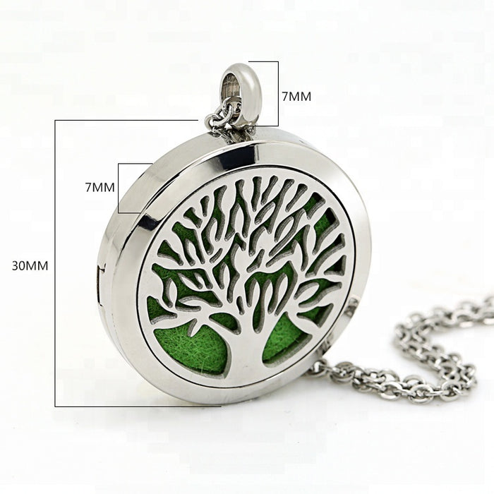 "Tree of Life Aromatherapy Essential Oil Diffuser Necklace, Stainless Steel Locket Pendant with 24"" Beads Chain and 6 Color Felt Pads"