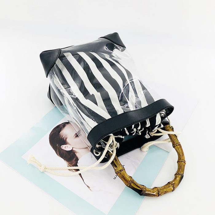 Custom clear pvc transparent bag bamboo handle pvc jelly bag