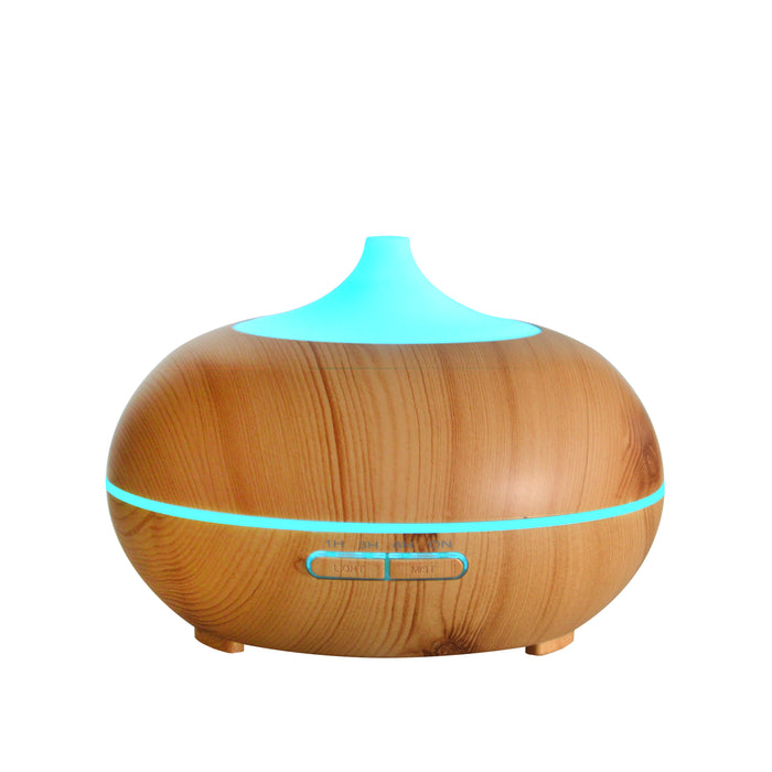 Aromatherapy Essential Oil Diffuser, 300ml Wood Grain Ultrasonic Cool Mist Whisper-Quiet Humidifier with Color LED Lights Changing & 4 Timer Settings, Waterless Auto Shut-Off for Spa Baby