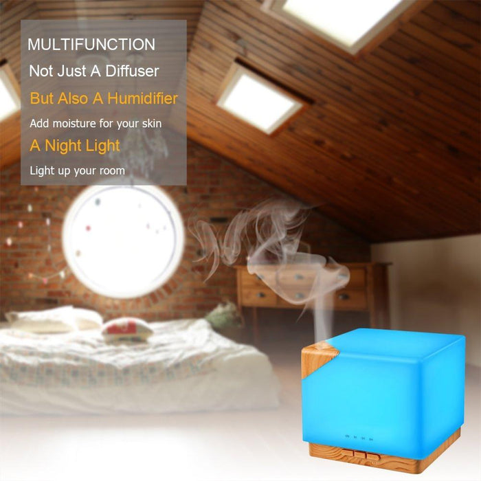 Square Aromatherapy Essential Oil Diffuser Humidifier, 700ml Large Capacity Modern Ultrasonic Aroma Diffusers Running 10+ Hours 7 Color Changing for Home Office Bedroom Living Room Study Yoga Spa