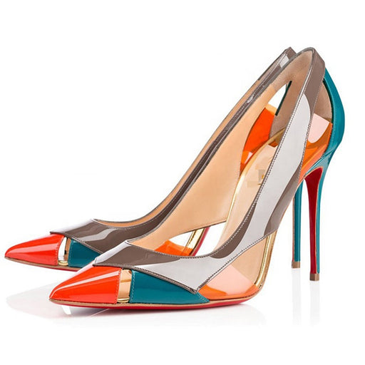 Fashionable high heels pvc lady shoes women summer pumps