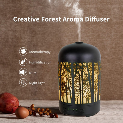Appreciis Metal Essential Oil Diffuser 100ml Ultrasonic Aroma Diffuser Whisper Quiet Mist Humidifiers with 7 Color Lights and Waterless Auto Shut-Off for Home Office Yoga SPA