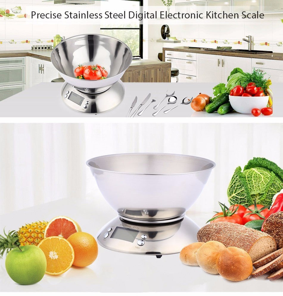 11lb/5kg Digital Kitchen Food Scale, Bowl Design, Stainless Steel with Alarm Timer & Temperature Sensor