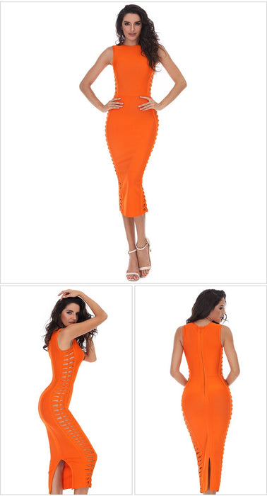 summer dress women sexy Celebrity party dresses bandage dress Runway Bodycon Dress O-Neck hollow out Club Vestidos