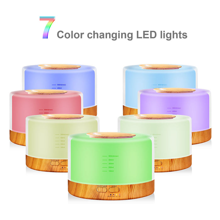 Remote Control Essential Oil Ultrasonic Diffuser  500 ml Cool Mist Aroma Humidifier for 7 colors LED Light - Independent Light Control / Multiple Color Light / Gradual Changing or Fixed Mode or Off.Provides soft illumination