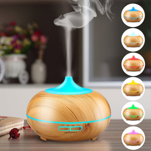 400ML Aromatherapy Essential Oil Diffuser Wood Grain Aroma Diffusers Cool Mist Humidmifier with Timer Adjustable Mist 7 Color