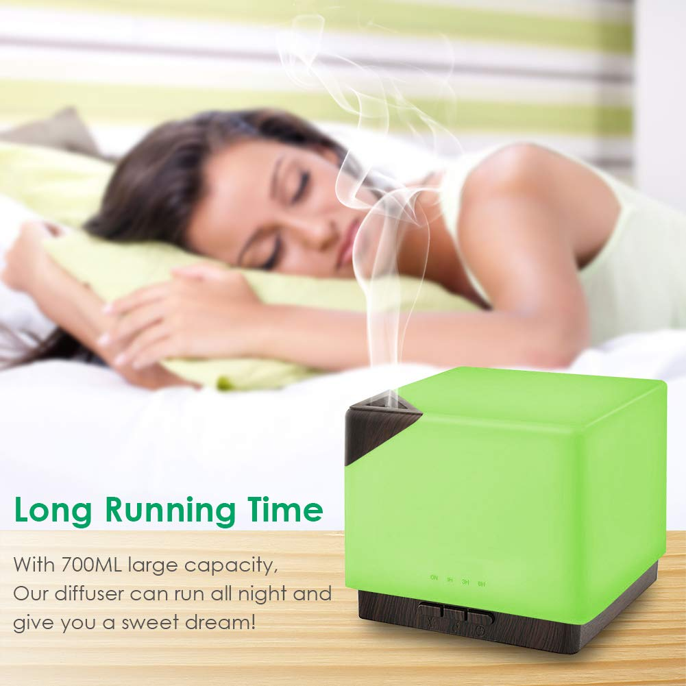 700ml Large Capacity Square Aromatherapy Essential Oil Ultrasonic Aroma Diffusers , Timer and Auto-Off Safety Switch, 7 LED Light Colors