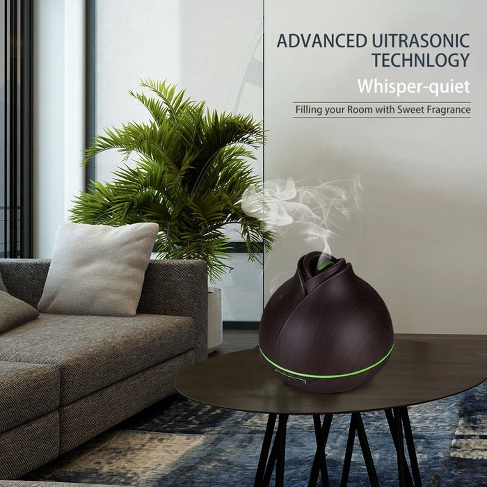 Appreciis 400ml mini led wood aroma air diffuser ultrasonic air humidifier filter cool mist aroma scent diffuser aromatherapy with Sleep Mode, Auto-Off, 8-Color Night Light for Room