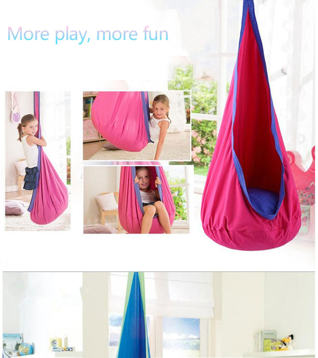 Children Hammock Inflatable Cushion Garden Swing Chair Indoor Outdoor Hanging Seat Child Swing Seat Patio Hammock Furniture Blue