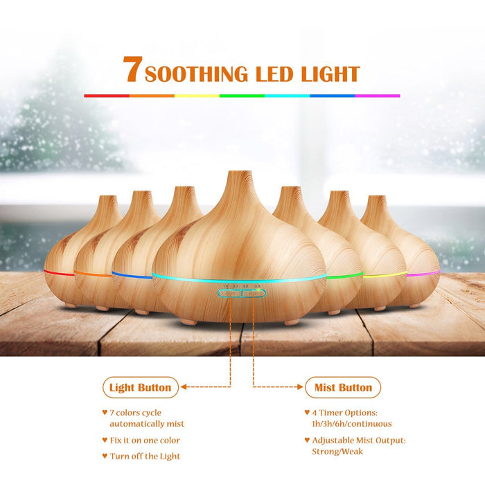 300ml Cool Mist Humidifier Ultrasonic Aroma Essential Oil Diffuser , 300ml Mini Aroma Wood Grain Cool Mist Humidifier for Office Home Study Yoga Spa Baby, Auto Shut-Off and 14 Color Night Lights