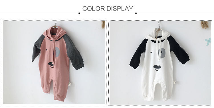 Spring autumn fashion baby girl hooded jumpsuit cute 0-3 year old pajamas baby warming clothes rompers