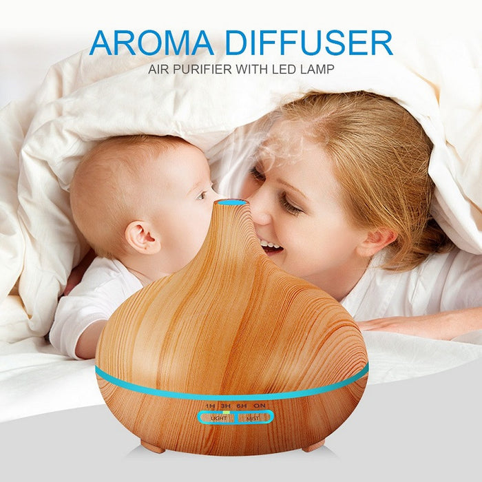 300ml Air Humidifier Essential Oil Diffuser Aroma Lamp Aromatherapy Electric Aroma Diffuser Mist Maker for Home-Wood