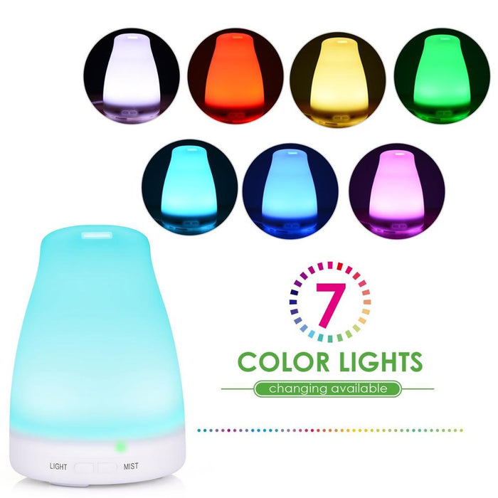 120ML popular essential oil diffuser cool mist diffuser ultrasonic aroma diffuser Ultrasonic Cool Mist Aromatherapy with 7 Changing Colored LED Lights, Auto Shut-Off, and Adjustable Mist Modes for Home, Office, Bedroom