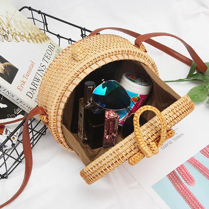 High Quality Women Beach Straw Shoulder Bags Bali Round Rattan Bag With Leather Strap