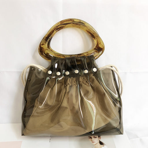 Korea style fashion transparent  jelly handbag women acrylic handle pvc  clear handbag