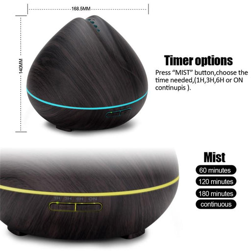 New 2017 Ultrasonic Aromatherapy Essential Oil Diffuser 400ml Wood Grain Mist Humidifier