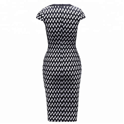 Office wear cap sleeves customized zig zag print casual clothing 95% polyester 5% spandex dress for woman