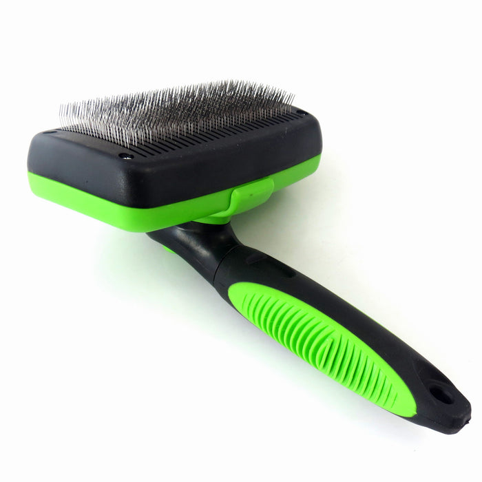Self Cleaning Slicker Brush for Pets-Pet Brush Gently Removes Tangled Matted Fur from Cats and Dogs and Reduces Shedding-Clean with Minimal Effort and Comfort