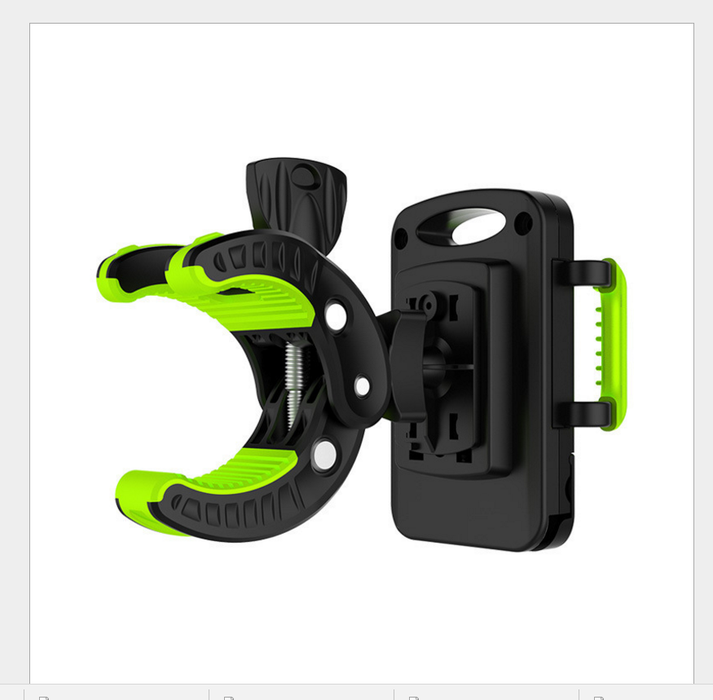 Bike Phone Mount Bicycle Holder, Universal Cradle Clamp for iOS Android Smartphone GPS other Devices, with One-button Released, 360 Degrees Rotatable, Rubber Strap