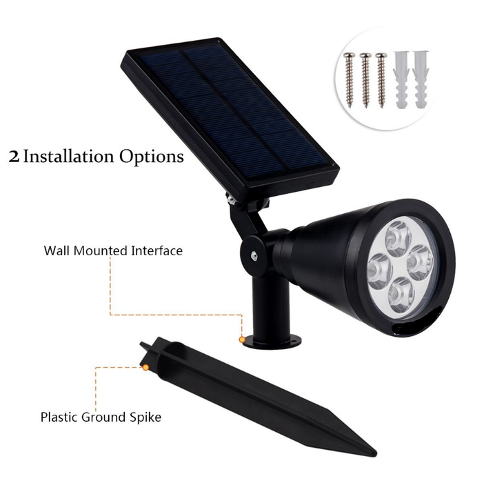 Upgraded Solar Lights 2-in-1 Waterproof Outdoor Landscape Lighting Spotlight Wall Light Auto On/Off for Yard Garden Driveway     Pathway Pool