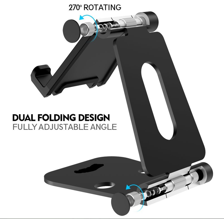 Foldable Tablet Stand Phone Holder, Multi Angle Dual Foldable Playstand Universal for iPad, Air, Pro, iPhone X 8 7 Plus, Nintendo Switch, Galaxy S8, Nexus All 4-13 inch